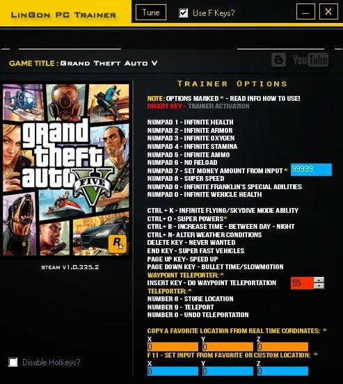 Grand Theft Auto V Trainer - LinGon para GTA 5