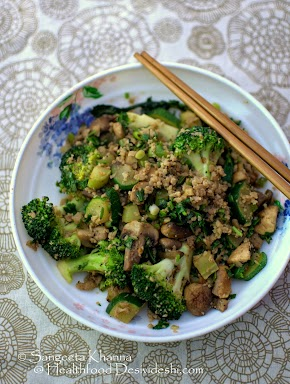 stir fried vegetables with chicken mince for a healthy meal