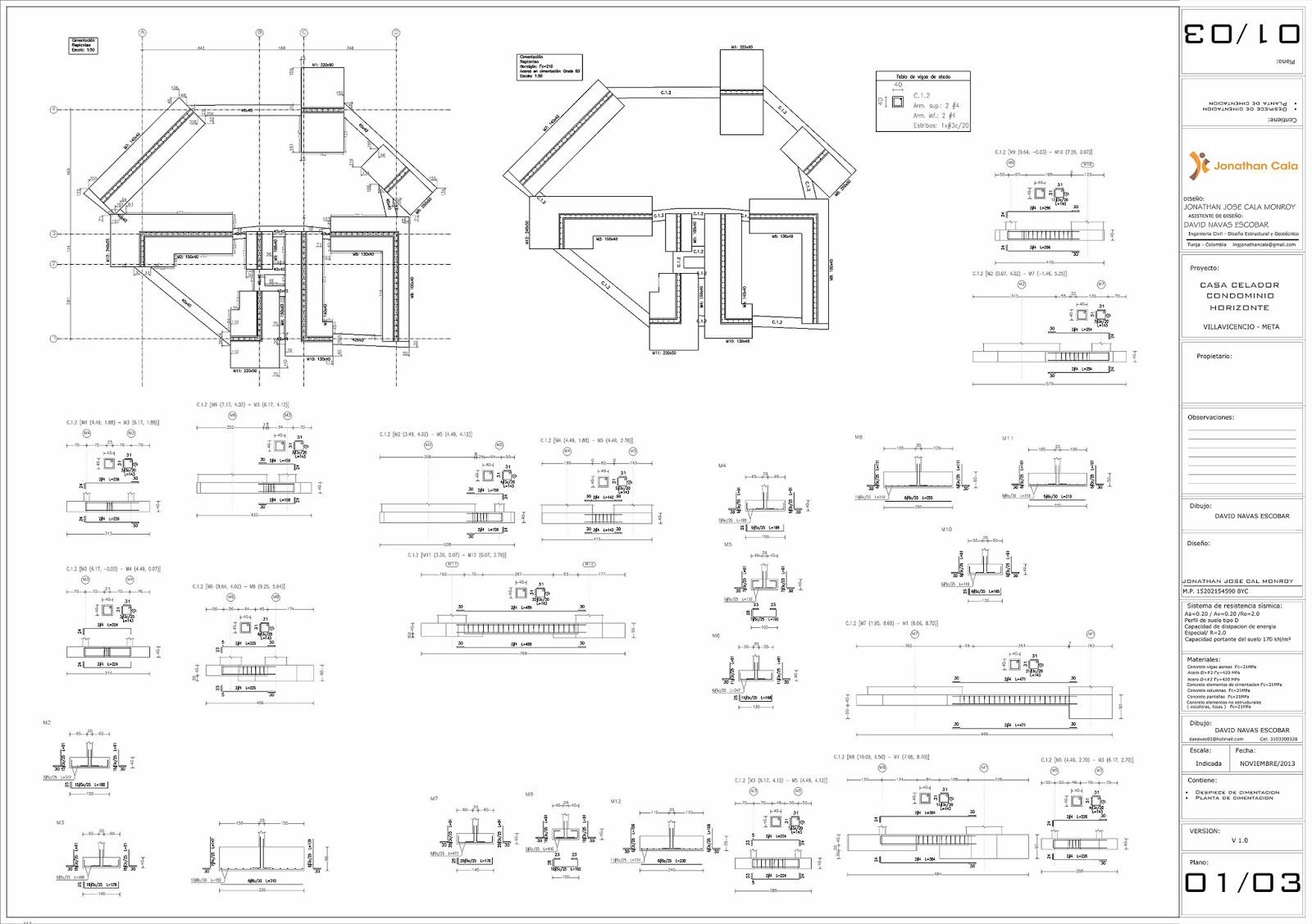 calculo estructural casa vivientes despiece vigas de