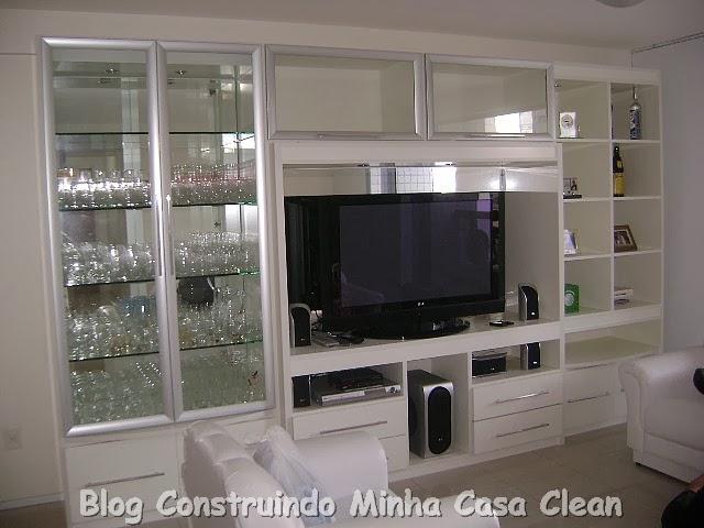 Construindo minha casa clean 35 cristaleiras lindas na for Sala de estar funcional