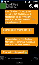 Windows Phone 7 Orange Pro v1.1 | Go SMS Theme