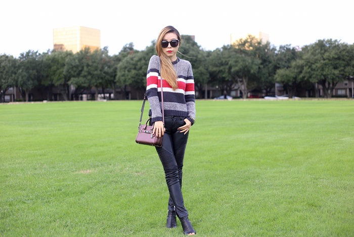 Rollas Tamra sweater, revolve me, blank denim moto pants, coach swagger 20 bag, dolce vita babe, dolce vita peep toe booties, kendra scott necklace, karen walker super duper sunglasses, nyc blogger, dallas blogger, dallas street style, fall fashion