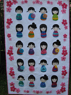 Red Raspberry Kokeshi Doll quilt pattern