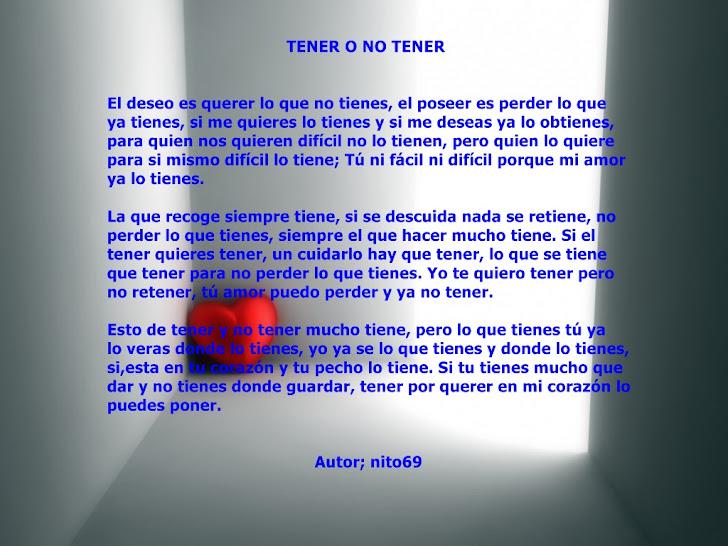 TENER O NO TENER