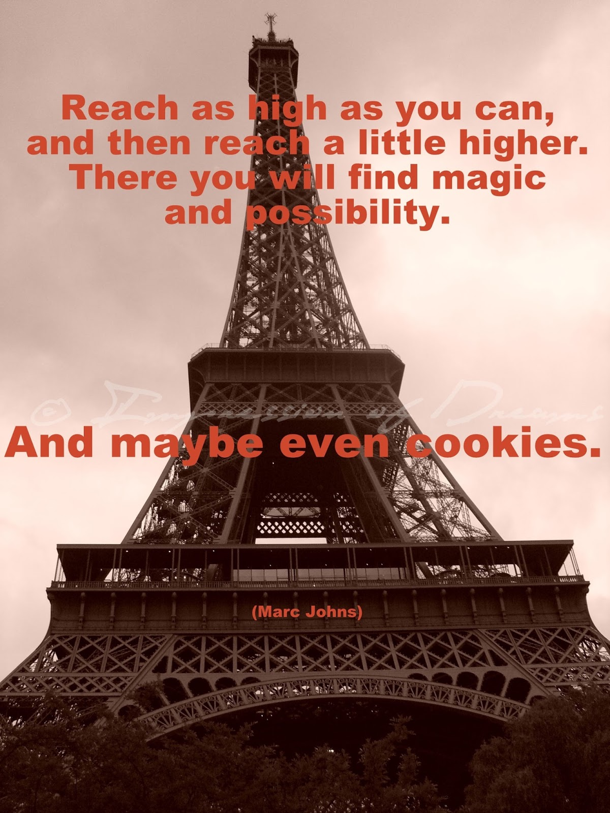 Reach as high as you can, and then reach a little higher. There you will find magic and possibility. And maybe even cookies.