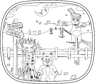 Halloween night scene with corn field with scarecrow in excerpt for The Pumpkin Dream coloring book by Bindlegrim