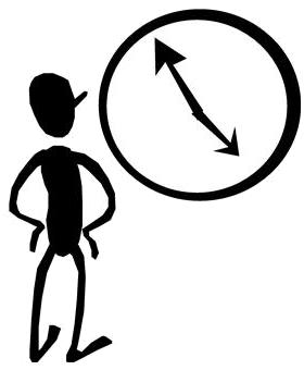 personnage qui regarde une pendule (dessin)