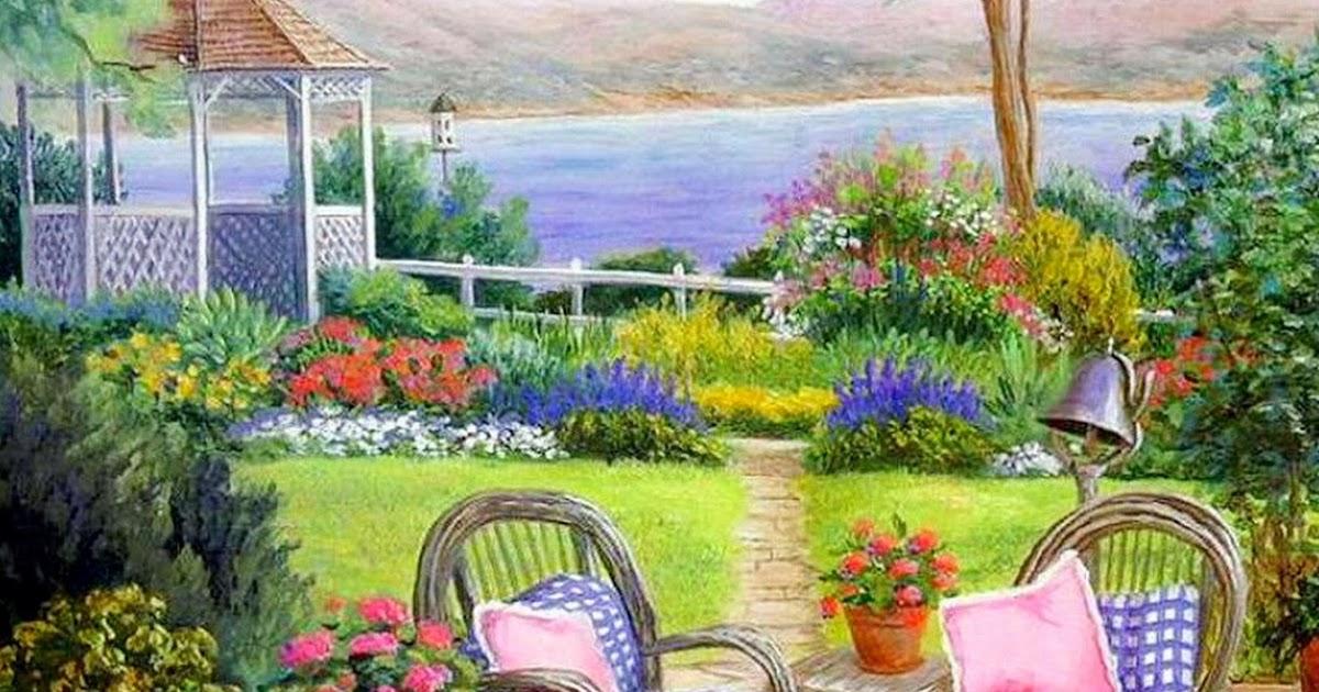 Pintura moderna y fotograf a art stica paisaje con - Oleos de jardines ...