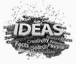 "Word cloud around the word ""Ideas"""