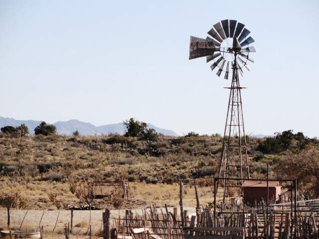 Photograph of windmill near Socorro, New Mexico.