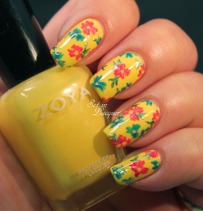 Bright floral Nail Art