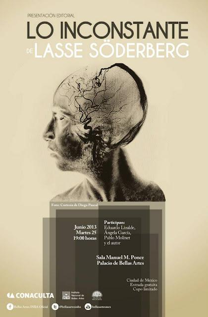 """Presentación del libro """"Lo inconstante"""" de Lasse Södorberg en el Palacio de Bellas Artes"""
