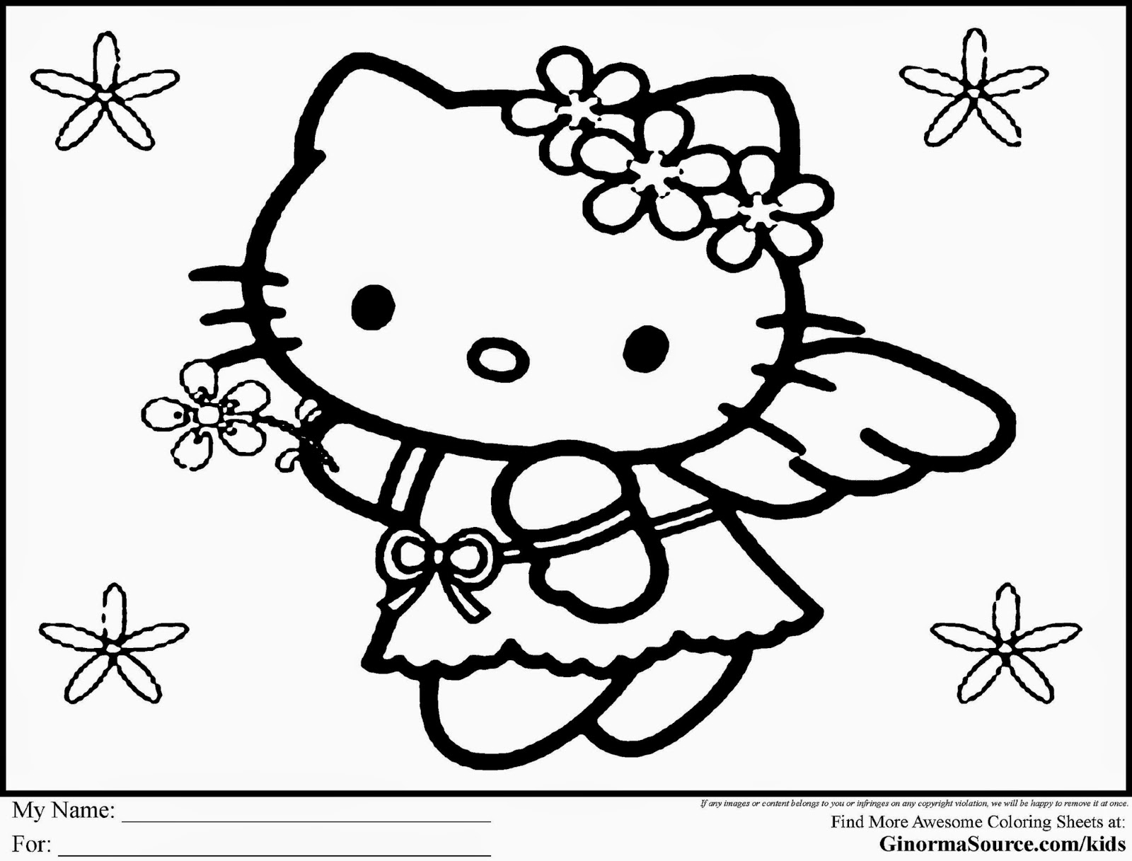 This is an image of Inventive Free Printable Hello Kitty Coloring Pages