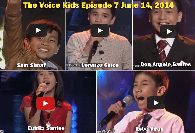The Voice Kids Episode 7 June 14, 2014: Sam Shoaf, Lorenzo Cinco, Don Angelo Santos, Eufritz Santos, Kobe Viray