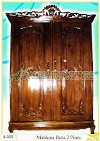 Lemari Pakaian Ukiran Mahkota 2 Pintu