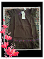 dress guess coklat bunga ungu
