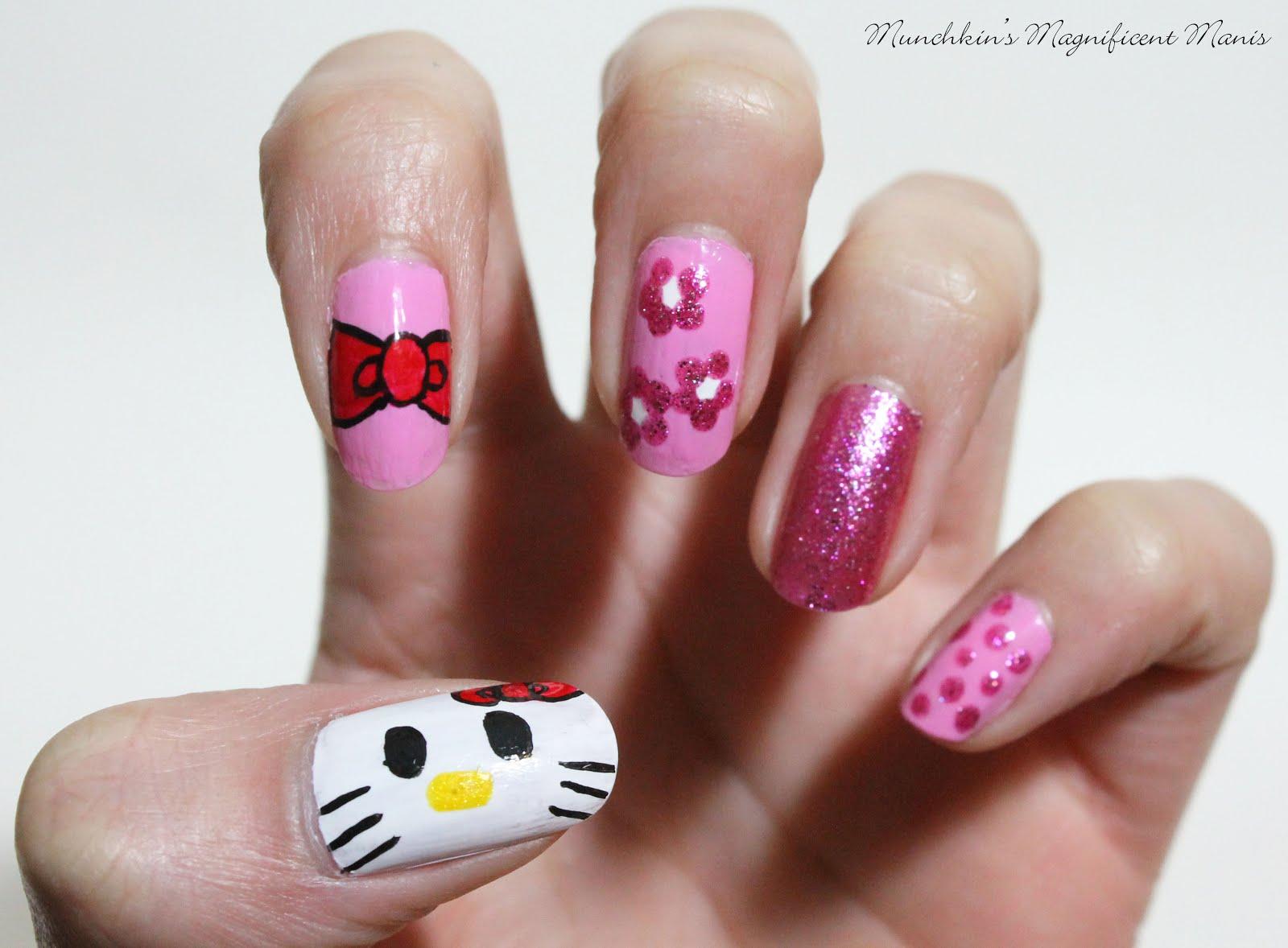 Munchkins magnificent manis hello hello kitty nail art tutorial hello kitty design prinsesfo Choice Image