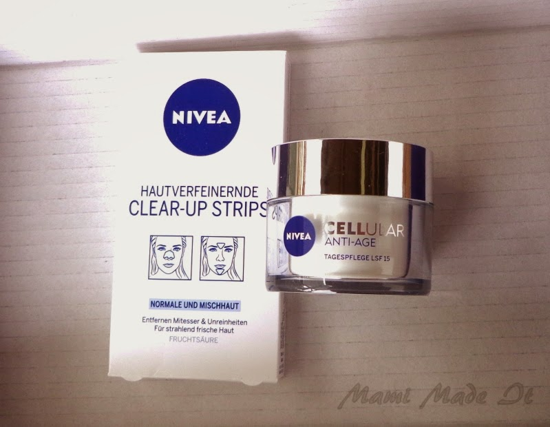 Nivea Cellular Anti-aging day cream and Nivea Clear-up Strips