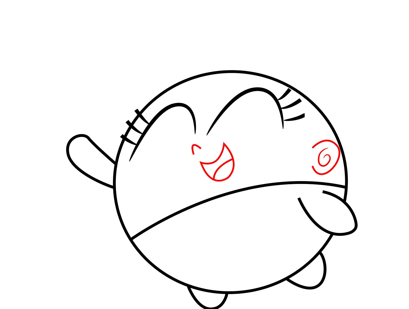 """Toplete Poof's Face, Draw A €�u"""" Shaped Smiling Mouth With A Small Button"""