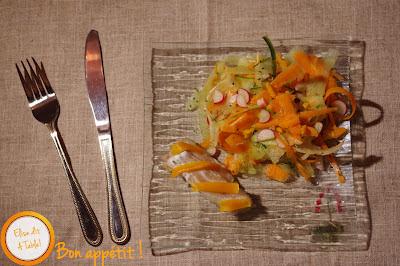 Pavé de cabillaud et salade de copeaux de légumes