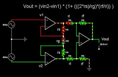 Esquema de amplificador de instrumentación