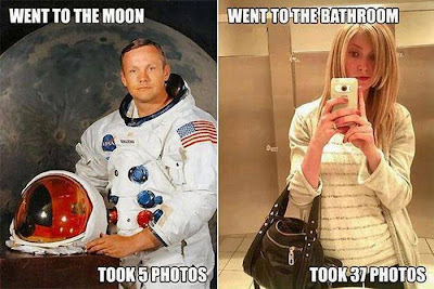 Astronaut went to the moon and took 5 photos. Girl went to the bathroom and took 37 photos.