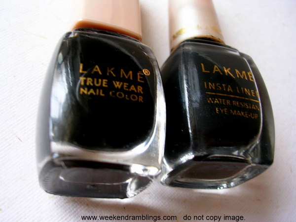 Lakme Instaliner Eyeliner Nail Polish Black Creme - Review Swatch NOTD - Indian Beauty Makeup Blog