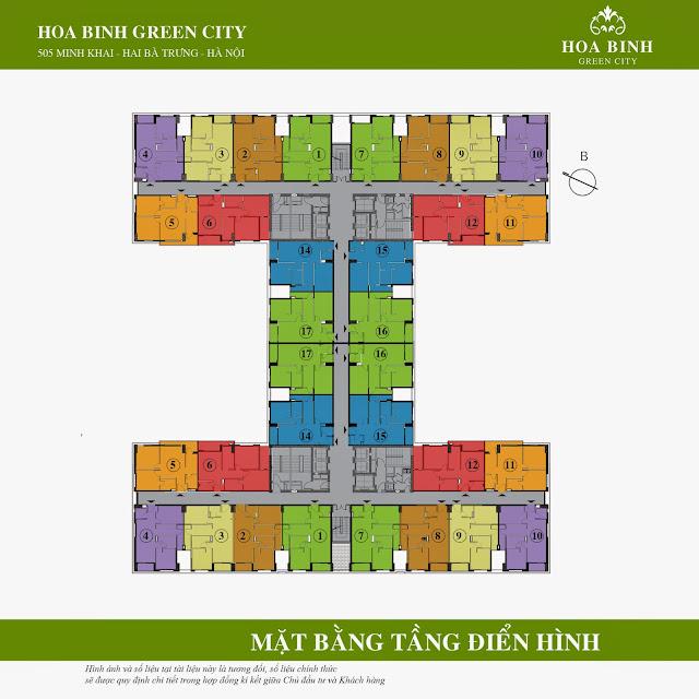 Mặt bằng sàn điển hình căn hộ tòa B Hòa Bình Green City (tầng 4-17)