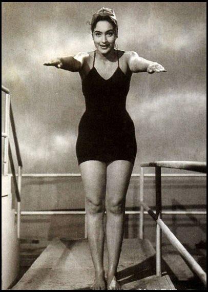 Hindi Movie Actress Nutan in Swimming Costume - 1950's