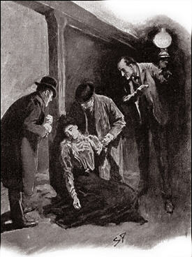 In a minute we had torn off the gag, unswathed the bonds, and Mrs. Stapleton sank upon the floor in front of us. As her beautiful head fell upon her chest I saw the clear red weal of a whiplash across her neck.