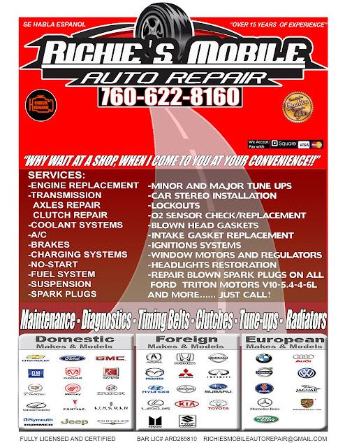 Richie S Mobile Auto Repair 760 622 8160 December Flyer