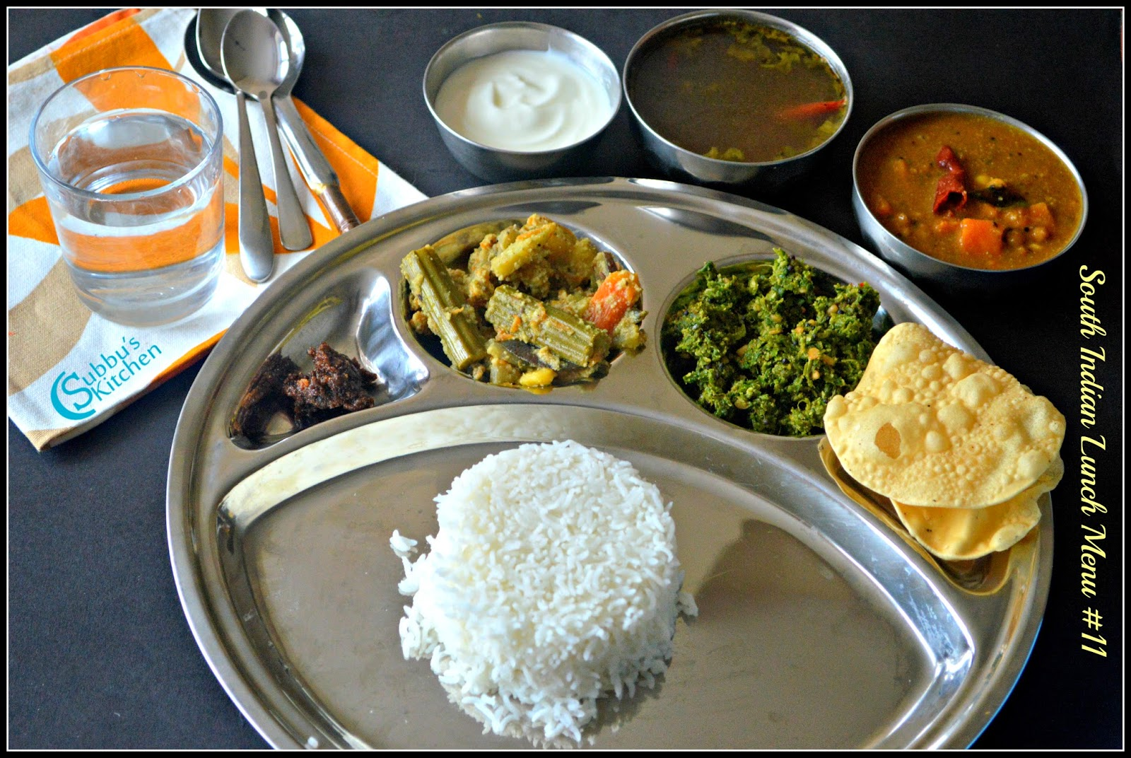 South Indian Lunch Menu 11 - Parangikai Puli Kuzhambu, Aviyal, Keerai Thuvaran and Kottu Rasam