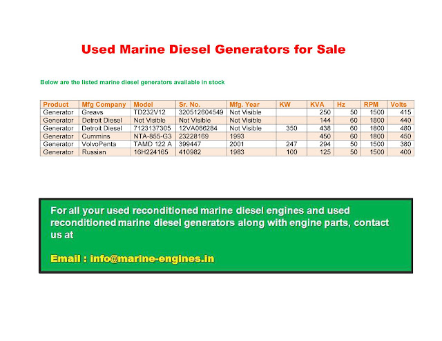 Used Marine Diesel Generators for Sale, 500 KVA, 450 KVA, 250 KVA, 144 KVA, 125 KVA, 700 KVA, cummins, Mitsubishi, Detroit Diesel, Yanmar, Volvo Penta, Diahatsu, Bergen, Sulzer, MAK, MAN, Hyundai, B&W,