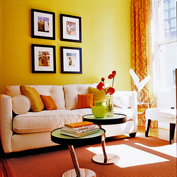 Living room color schemes home appliance Orange and red living room design