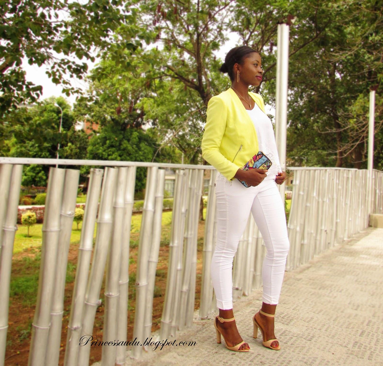 lace, white denim, jeans, yellow blazer, ankle strap heels