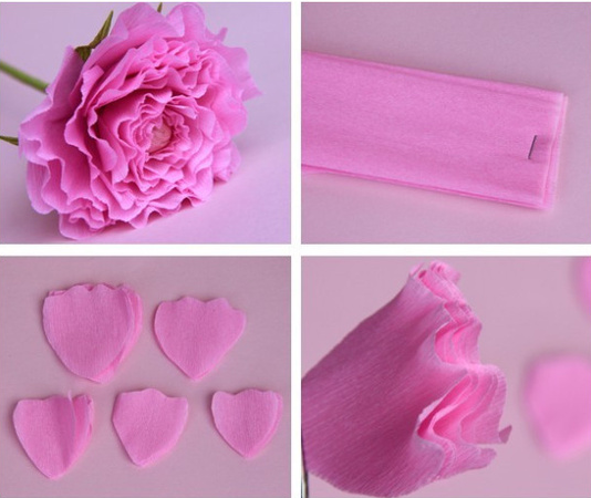 Большие цветы из гофрированной бумаги  пошаговая инструкция