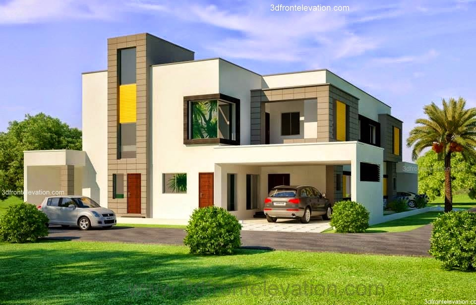 1 Kanal Corner Plot @ 2 House Design Lahore Beautiful House 1 Kanal  Modern 3D Front elevation.com - Dimentia