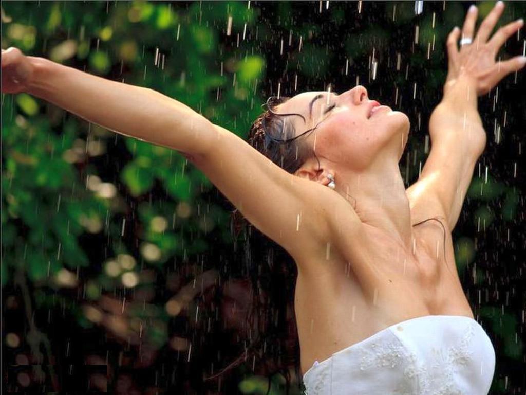 Hot babes in rain