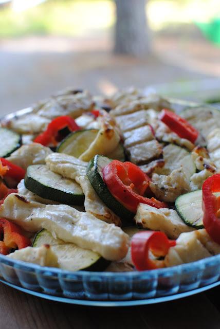 recept, halloumi, grill, sallad