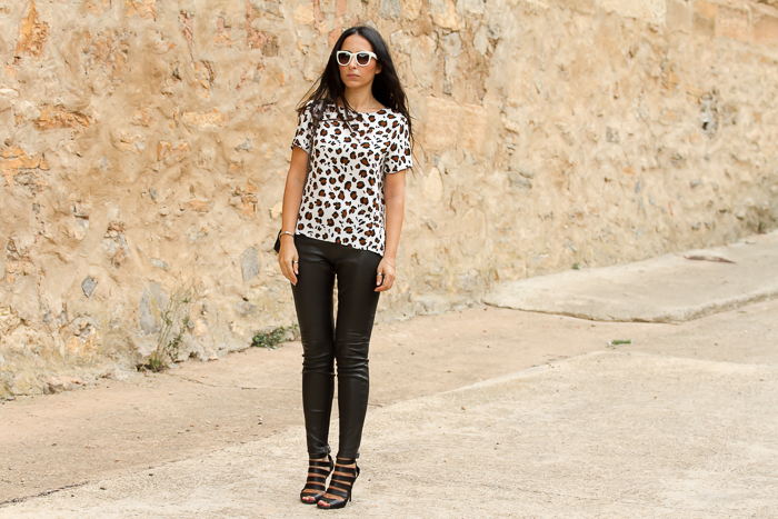 Leo print and leather leggings by Muubaa