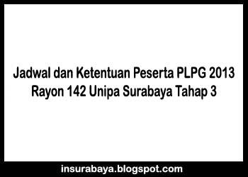 Jadwal dan Ketentuan Peserta Sertifikasi Guru 2013 Rayon 142 Tahap 3
