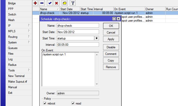 mikrotik dhcp client scheduler