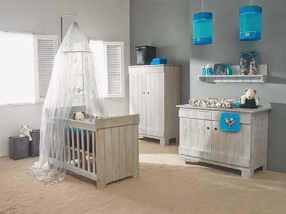 Cuartos de beb en turquesa y gris dormitorios colores y estilos - Peinture pour meuble bebe ...