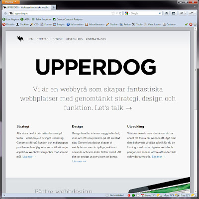 Screen shot of http://upperdog.se/.
