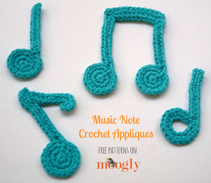 Music Note Crochet Appliques by Moogly is a featured Pattern From the Community on #OuiCrochet.