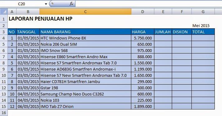 300 Rumus Excel Cara Membuat Laporan Penjualan Hp Dengan Diskon Di Ms Excel