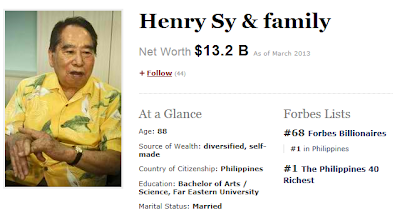 Henry Sy named Ph richest for Forbes list 2013