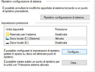 ripristino di configurazione di sistema windows 10