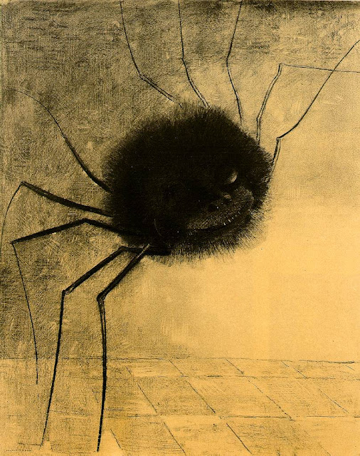 A monochrome drawing of black, hairy, grinning spider